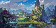 ArtStation - a clear Valley ~, Dan Zhao Fantasy City, Fantasy Places, Fantasy World, Fantasy Art Landscapes, Fantasy Landscape, Landscape Art, Fantasy Concept Art, Fantasy Artwork, Environment Concept Art