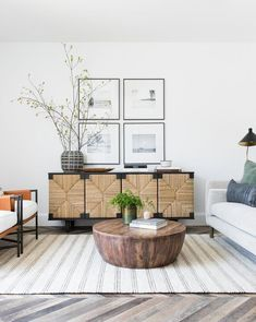 neutral modern living room with round wood coffee table, neutral family room decor Plywood Furniture, Living Furniture, Modern Furniture, Furniture Design, Sofa Furniture, Pallet Furniture, Rustic Furniture, Antique Furniture, Outdoor Furniture