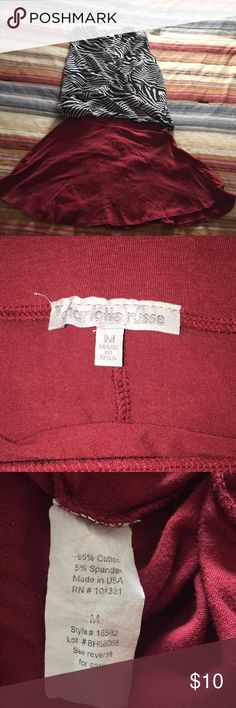 """Charlotte Russe skater skirt Euc dark red skater skirt. Waist measures 12 1/2"""" but is stretchy & length is 15 1/2"""". Gorgeous color. Will include the top for free.( size 4 by H&M) Charlotte Russe Skirts Mini"""