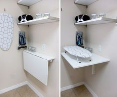 NORBERG wall-mounted folding table gives you an extra workspace when you need it! Here, it's used in the Squad's laundry room makeover. Click the link in our bio for more from the Squad! Wall Mounted Folding Table, Laundry Table, Laundry Room Folding Table, Folding Laundry, Laundry Room Organization, Laundry Room Design, Ikea Folding Table, Ikea Laundry Room Cabinets, Laundry Folding Station