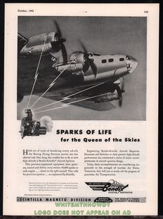 1943 WWII BOEING B-17 Flying Fortress Queen of the Skies WWII WW2 Bendix AD