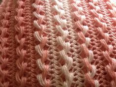 Hairpin Lace  Soft Baby Afghan Pink & White by BlanketsbySheryl