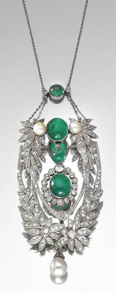 GOLD, DIAMOND, NATURAL PEARL AND EMERALD NECKLACE, 1920S. | Sotheby's