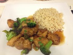 Kiss my Apron: Sweet and Sour Chicken with Chinese style broccoli ..served with pearl couscous - recipe link attached