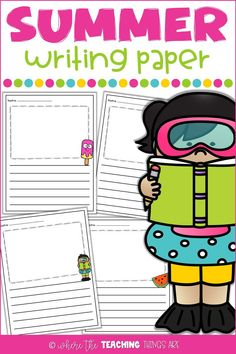 Encourage your students to continue writing over the summer with this fun paper! It's a great resource to use for summer school or to send home in a summer break packet. Color and black/white versions included.