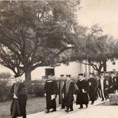 McNeese State University Graduation in 1975. Faculty marching near Kaufman Hall. Historic Photographs of Southwest Louisiana