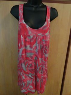 NEW INC Small Tank Top Pink Gray White Scoop Neckline Lace Raceback Casual
