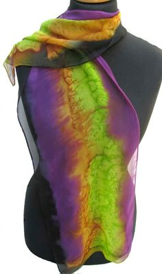 Hand Painted SILK Chiffon SCARF in Purple Green Gold by ShariArts, $36.00