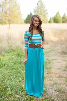 There is nothing like quite like a good maxi dress! Our striped and solid colored maxi dress has three quarter length sleeves and a scoop neck. The skirt is silky soft and perfect with heels or flats. Modest Dresses, Modest Outfits, Modest Fashion, Cute Dresses, Beautiful Dresses, Dress Outfits, Dress Up, Cute Outfits, Maxi Dresses