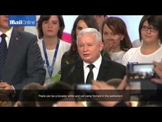 Poland's eurosceptic Law and Justice party leader Jaroslaw Kaczynski gives his winning speech