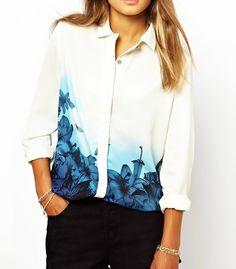 New Fashion Women Plus Size Elegant Long Sleeve Shirts Tops Blue Floral Gradient Print Chiffon Casual White Blouses blusas S-XL Moda Streetwear, Streetwear Fashion, Stylish Shirts, Print Chiffon, Floral Chiffon, Aliexpress, Printed Blouse, Blouses For Women, Shirt Style
