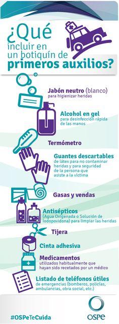 Infografía sobre lo que tiene que tener el botiquín de primeros auxilios #Prevencion