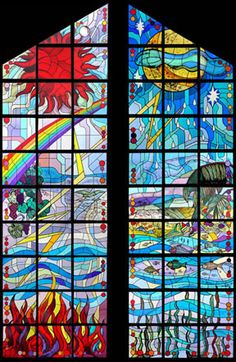 Creation: day and night. Stained Glass Designs, Stained Glass Art, Stained Glass Windows, Church Windows, Crystal Palace, Bible Stories, Color Of Life, Mosaic Art, Different Colors