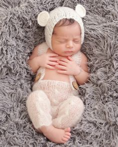 Handmade Knit Mohair Baby Cap and Overall Pants Photo Props by  JaneEyreCouture on Etsy Nyfödda 62684652374c