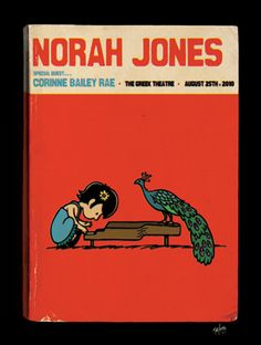 NORAH JONES w/ Corinne Bailey Rae. The Greek Theatre, LA. August 25th, 2010. Artwork by Matt Leunig