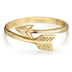 Bling Jewelry Golden Arrow Ring ($19) ❤ liked on Polyvore featuring jewelry, rings, accessories, gold, bijoux, golden jewelry, golden ring, stackable rings, thin rings and stackers jewelry