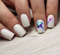 Amazing white nails with colorful print summer style - LadyStyle