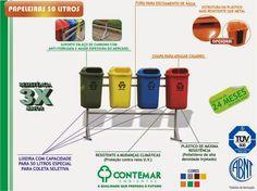 As lixeiras para coleta seletiva de 50 litros da Contemar foram desenvolvidas para obter uma solução ao armazenamento de lixo na rua, são funcionais, resistentes e não perdem a cor com o tempo. As lixeiras para coleta seletiva da Contemar são as mais resistentes do mercado.