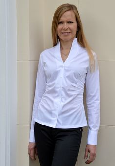 GRACE - Perfect White Shirt with portrait neckline and interesting pintuck detail flattering the waistline. Sizes 8/34 to 18/44. £95