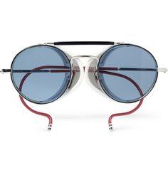 Thom Browne Round-Frame Metal Sunglasses