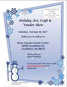 While carving the pumpkin, carve out some time to attend the Holiday Art, Craft and Vendor Show at the Silver Garden Event Center.