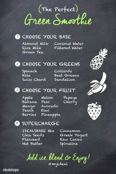 How to make the perfect green smoothie! Dont forget to add your IdealShake mix to block your hunger up to 3 hours! Juice Smoothie, Smoothie Drinks, Healthy Smoothies, Healthy Drinks, Get Healthy, Smoothie Recipes, Healthy Recipes, Green Smoothies, Starbucks Smoothie