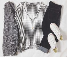 Baggy stripped tee with jeans, baggy cardigan, and converse
