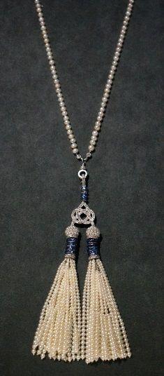 Cartier Necklace, 1910, platinum, diamonds, pearls, sapphires.