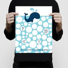 blue whale baby shower guest book  11x14 print by creativemonsoons
