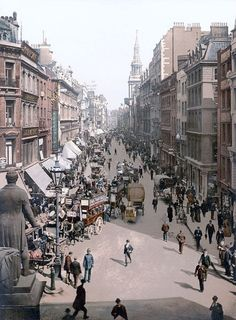 London. A rare color photograph of a London street in 1900