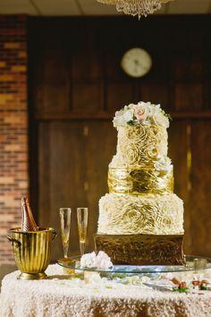 Textured gold rosette wedding cake   Lissa Anglin Photography   www.theknot.com