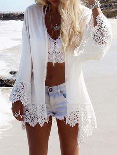 Lace Sleeves Mini Eagle Print White Bohemia Beach Cardigan Tops Buy Now Backless Maxi Dresses, Maxi Dress With Sleeves, Lace Sleeves, Puff Sleeves, Short Sleeves, Chiffon Kimono, Vetement Fashion, Look Boho, Boho Style