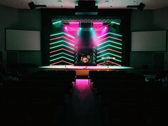 Jordan Christie fromHillcrest Baptist Church Spanish Trail Campus inPensacola brings us this great LED tape design. From Jordan: For this stage design we wanted to create something very modern feeling. We also wanted to try using LED tape for the first time. The 10'x13' frames were constructed of 2x4s painted black. 1x2 furring strips were then attached to the frames to create the chevron patterns. 16 rolls of 5050 LED RGB strips were used to illuminate the chevron pattern. We use...