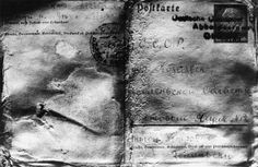 Postcard sent from German occupied part of Poland to the POW camp in town of Kozielsk where murdered officers were interned. The postcard was found on one of the victim's body.