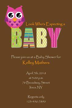 Owl Girl Baby Shower Invitation DIY Digital Print. $7.50, via Etsy.
