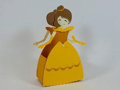 Linda caixinha vestido Princesa Bela. É uma ótima opção para lembrancinha da sua festinha no tema A Bela e Fera. Vestido Princesa Bela.