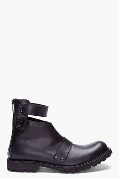 JUUN.J Black Leather Kiroic Edition Cut-out Boots | $1000 CAD