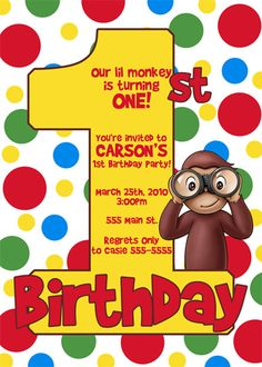 Curious George Birthday Invitation Printable First Birthday On
