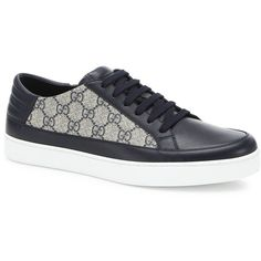 Gucci Common Supreme Low Top Leather Sneakers ($465) ❤ liked on Polyvore featuring men's fashion, men's shoes, men's sneakers, apparel & accessories, multi blue, mens low profile sneakers, mens leather lace up shoes, mens low profile shoes, mens leather shoes and gucci mens shoes