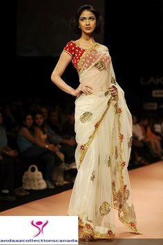 Classy Off White And Red Runway Saree
