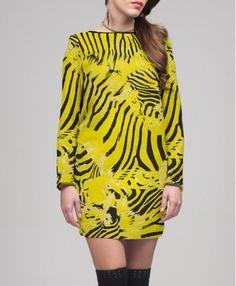 ANIMAL PRINT YELLOW SIXTIES DRESS