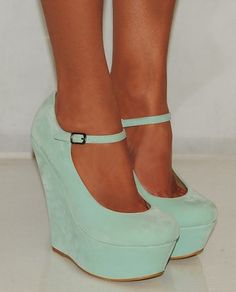 Ladies Women Suede Mint Green Blue Platform Wedges High Heels Shoes #mint #green #wedges www.loveitsomuch.com