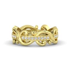 The Atlantis Eternity Band customized in white sapphire and yellow gold