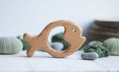 Organic Wooden Teether fish. Beech Teething Toy.  by tinyfoxhole