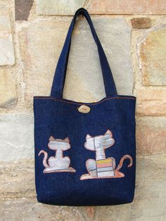 Denim tote bag, shoulder bag, hand bag, theme bag by ZayiaCraft on Etsy
