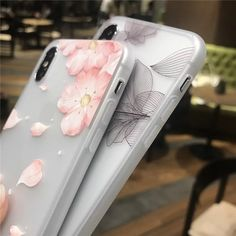 Cherry Petals 3D Relief Silicone Case For Iphone Lace Leaves Back Cover Iphone 6, Iphone Cases, Floral Iphone Case, Flower Petals, Cherry, Leaves, 3d, Cover, Iphone Case