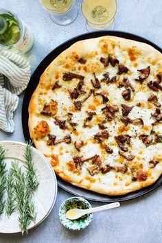 Mushroom + goat cheese pizza