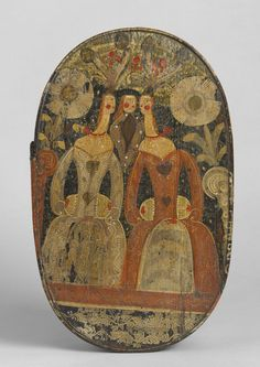 Fine Oval Bride's Box or 'Spaanaeske' (Sold) Depicting Three Primitive Figures  Hand Painted Pine and Bent Wood  Danish Southern Islands, c....