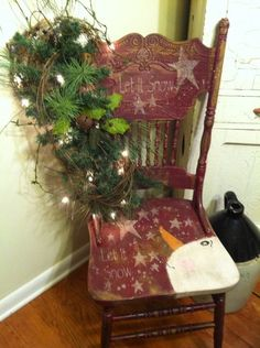 Small Armchairs For Living Room Christmas Chair, Primitive Christmas, Christmas Signs, Country Christmas, Rustic Christmas, Winter Christmas, Christmas Holidays, Christmas Decorations, Christmas Ornaments