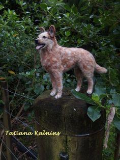 Needle felted miniature Australian cattle dog